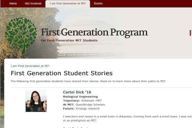 Successful firsts: MIT's First Generation Program website includes personal snapshots from first-gen students, alumni and faculty.