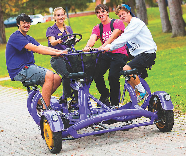 Alfred University in New York implemented a unique mode of transportation—a seven-person-bike—to liven up it campus tours.