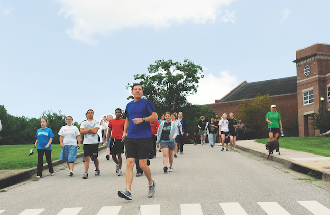 Berea College President Lyle Roelofs encourages the campus community to jog or walk with him before classes two days a week. Along with getting to know students, running helps Roelofs make big decisions about leading his institution.