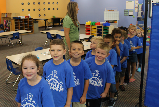 Lab-k program kindergartners sport their Bethel College pride for an event on campus.