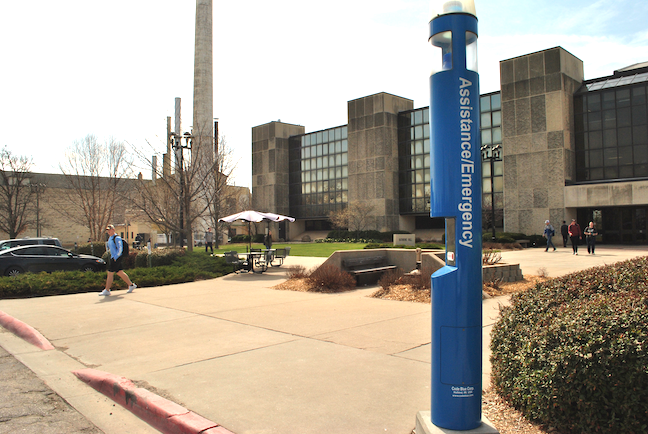 Kansas State University Police monitor phone call boxes located throughout the campus. Besides seeking help in an emergency or reporting other incidents, the community is also encouraged the use the boxes for wayfinding assistance. (Photo: Cindy Hollingsworth)
