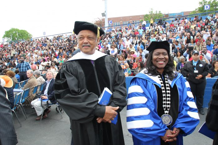 Tennessee State University President Glenda Baskin Glover, shown above with the Rev. Jesse Jackson, grew up in civil rights-era Memphis and served as a student civil rights leader in high school and at the institution she now leads.