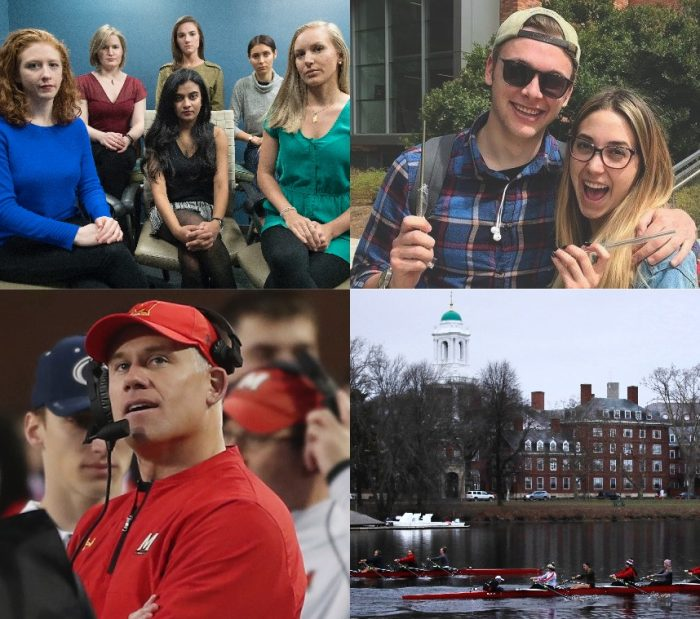 MEDIA SCRUTINY—Higher ed institutions experienced: the #MeToo movement, with students protesting on campuses after administrators and professors were named as sexual predators (top left, Associated Press); growth in sustainability efforts, such as the University of Portland's ban of plastic straws (top right); sports corruption, with the firing of University of Maryland football coach D.J. Durkin (bottom left, mpi34/MediaPunch/IPx); and court battles for fair enrollment policies, with Harvard taken to task by the Students for Fair Admissions (bottom right, Associated Press).