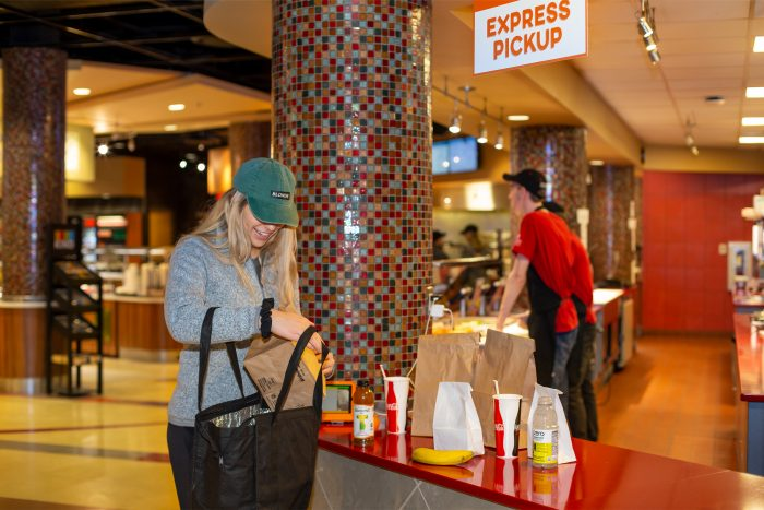 MEAL TO GO—On peak days at Ohio State U, about 8,000 mobile food orders are placed via an app, which estimates order pickup time so students can be in and out quickly.