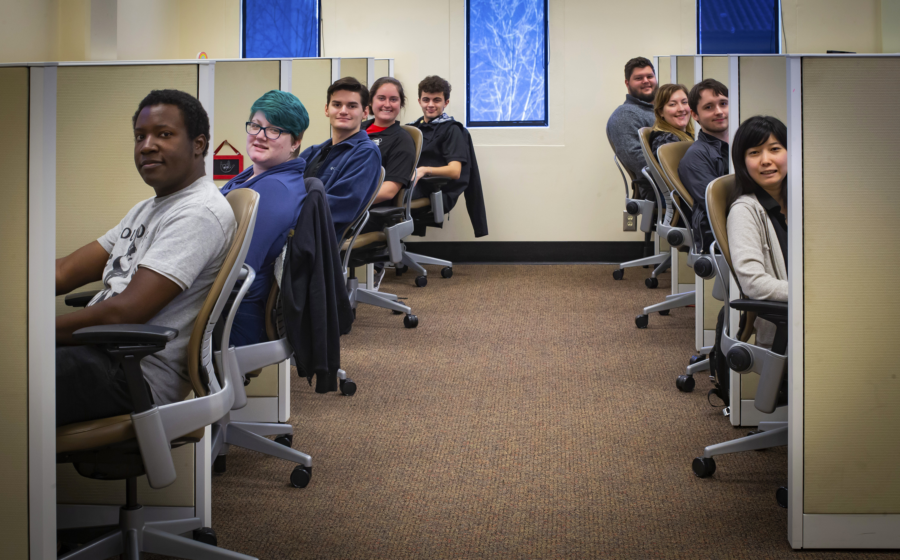Lined up to help—Valdosta State's first-tier student support center serves as the initial point of contact for assistance related to admissions, housing, res life and IT-based queries. Staff aim to quickly address and resolve issues via phone, email or social media.