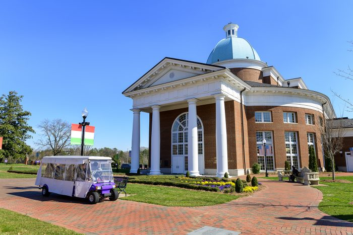 At High Point University, the visitor experience is personalized to a student's interest in specific majors. By providing the campus tour on a golf cart as opposed to large walking groups, visitors can speak directly with a university ambassador and have their questions answered.
