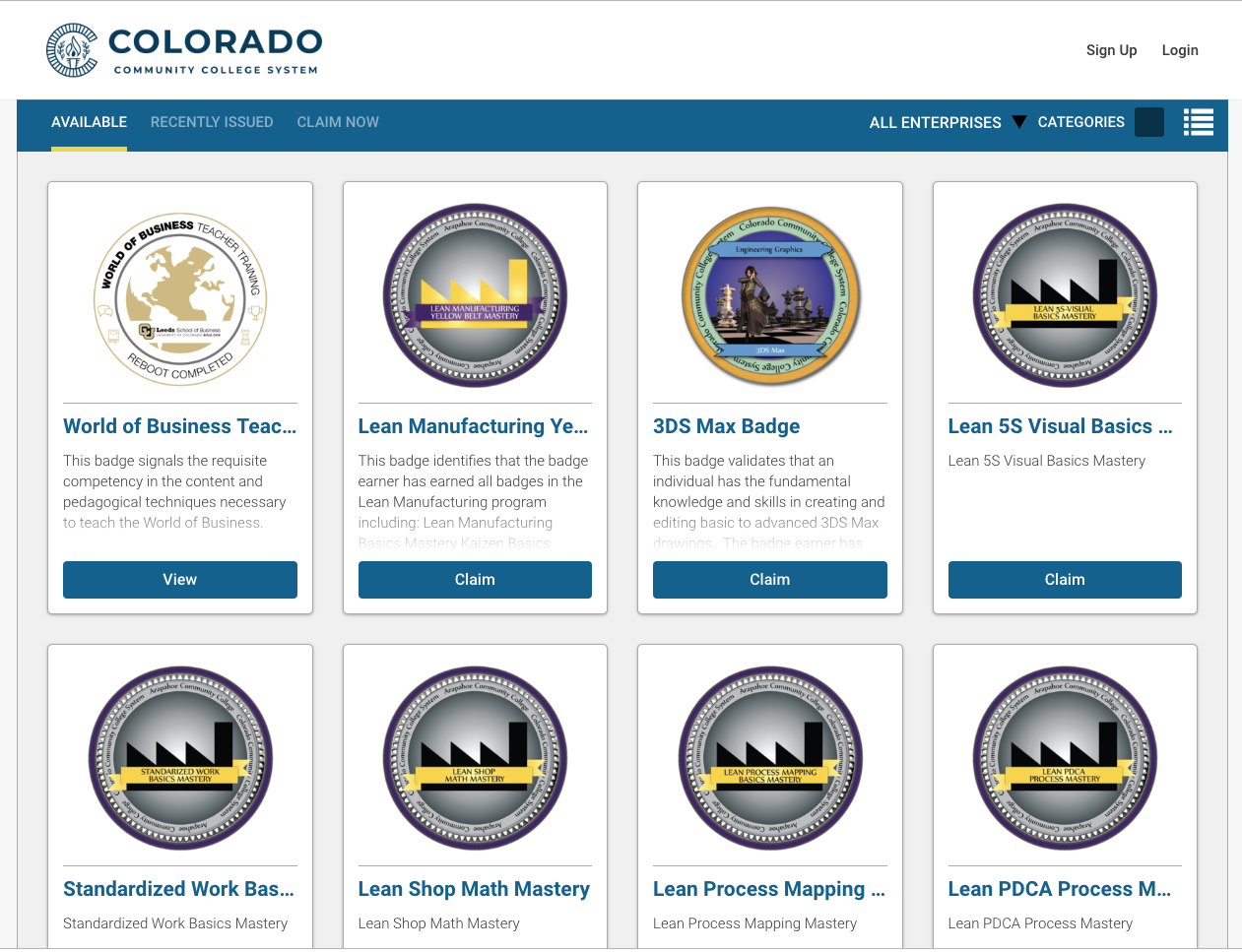 The Colorado Community College System offers a wide range of digital badging options.