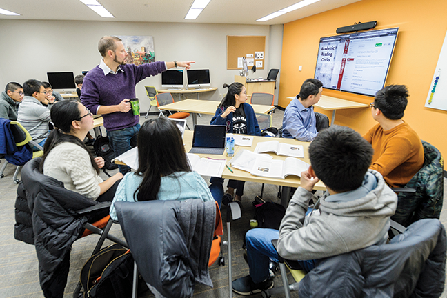 At University of Wisconsin-Madison, tables in the language lab can be easily arranged and rearranged, or pushed aside for more group space.