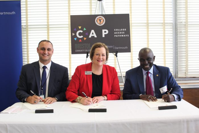 Pictured from left to right: Diman Regional Vocational Technical High School Assistant Superintendent/Principal Elvio Ferreira, Bristol Community College President Laura L. Douglas and University of Massachusetts Dartmouth Chancellor Robert E. Johnson launched the College Access Pathway in Engineering, creating a streamlined pathway from high school to a bachelor's degree in three years.
