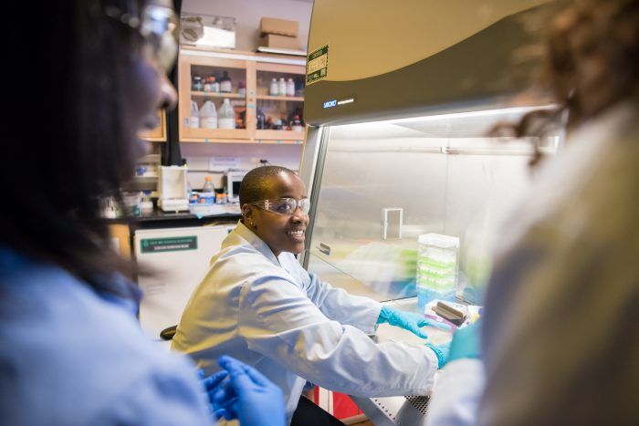 Naomi Mburu, a Class of 2018 Meyerhoff scholar, MARC U*STAR scholar and now a Rhodes scholar, works on her chemical engineering research project. Mburu was part of the UMBC's program that fosters success among underrepresented minorities in STEM.