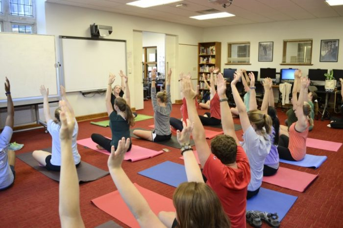 At Rhodes College, lab activities include a weekly yoga class taught in German.