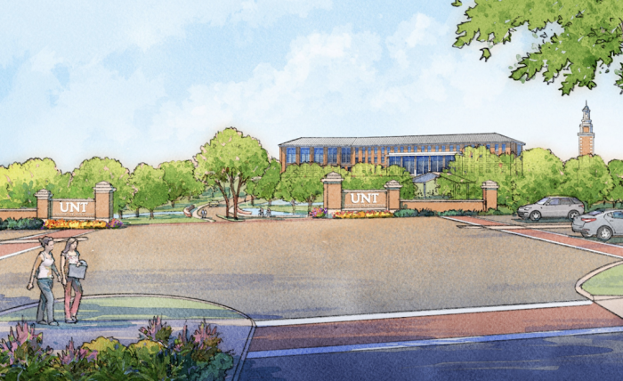 The first proposed building (pictured) for UNT's Frisco campus features collaborative learning spaces, student support services, faculty and staff offices, and communal gathering areas.