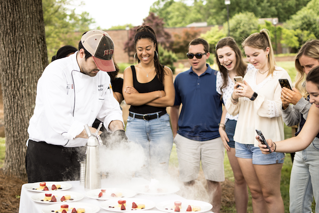 Elon University and its chef host five-course, farm-to-table dinner each month on campus. A small group of students is invited to enjoy a tasting menu.