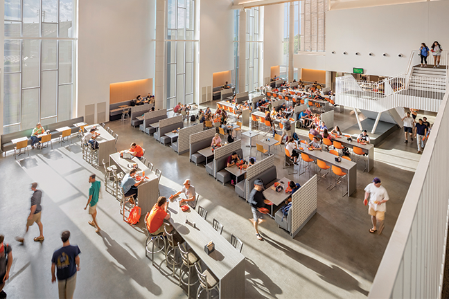 Have a seat—Having several types of seating areas, as Clemson University's Core Campus dining hall has, helps ensure students see it as much than just a place to eat meals.