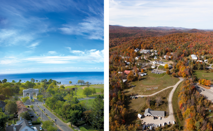 The campuses of Marlboro College (left) and the University of Bridgeport both have admirable views, but Marlboro is small and rural and UB is in one of Connecticut's major cities.