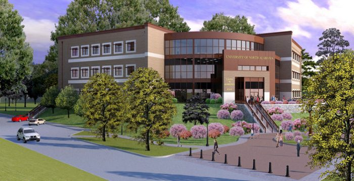 The University of North Alabama is among many of the higher ed institutions under construction throughout the state. Its $18 million, 60,000-square-foot Harrison Hall for the College of Nursing is slated to open next spring.