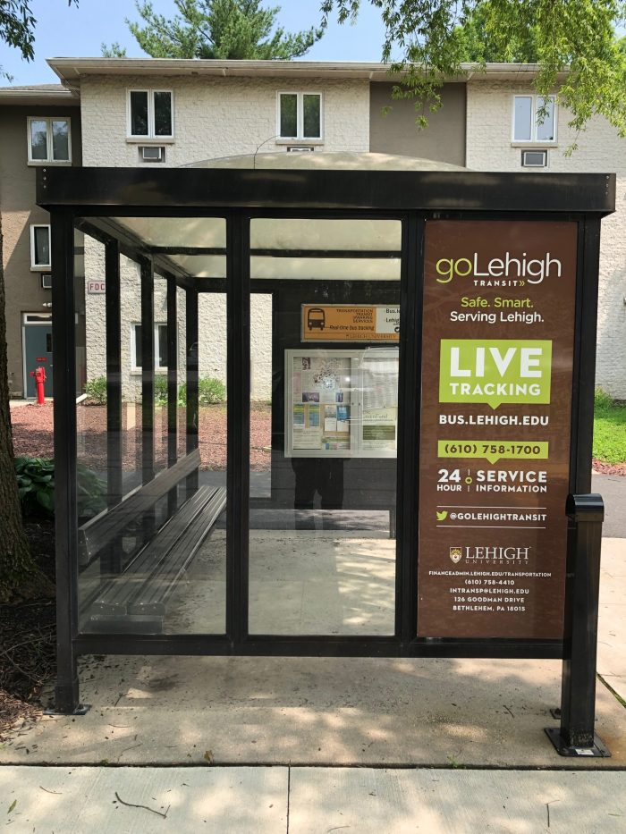 LOCATION DETECTION—With the LehighU Live app, Lehigh University community members can find the closest shuttle bus and track it in real time. Lehigh Transportation Services runs three bus routes and promotes the app on its shuttles and bus shelters.