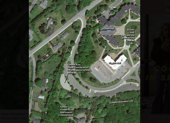The proposed construction area for SUNY Oneonta's emergency services facility is shown.