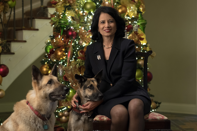 Renu Khator swooped in to adopt Ruby a mere 15 minutes after the skinny, 18-month-old dog was picked up as a stray from the University of Houston campus and taken to a shelter in 2018.