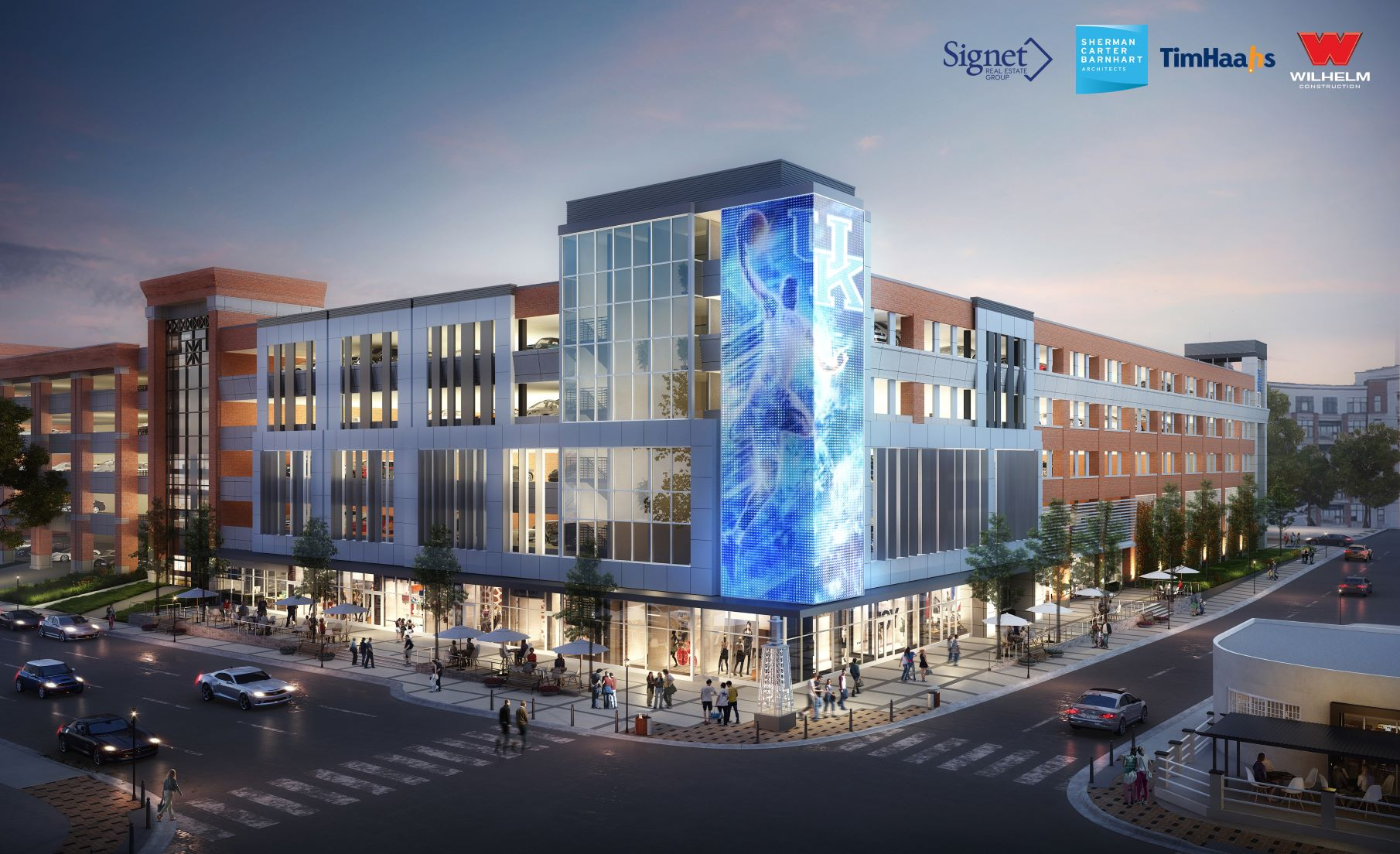 A 50-foot medial wall display will provide a centerpiece for a new retail and innovation complex planned at The University of Kentucky.