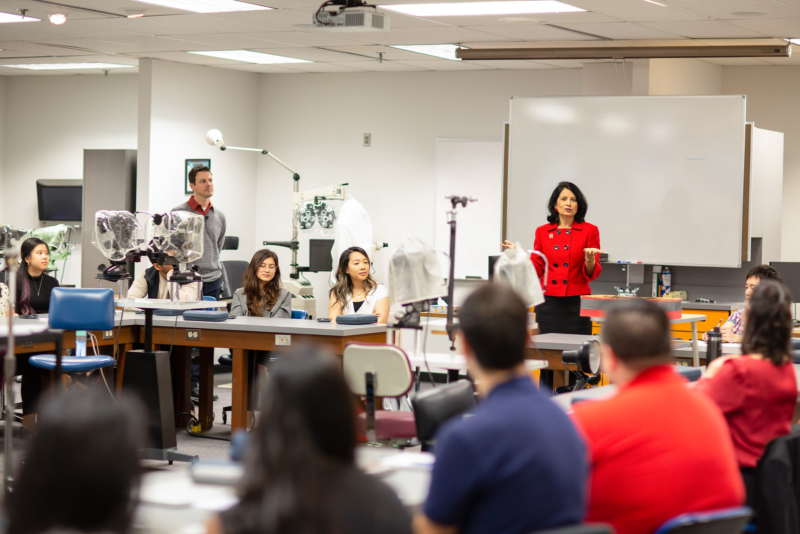 President Renu Khator visits graduate-level classes. The University of Houston completed a $1 billion fundraising campaign in March, more than a year ahead of schedule.