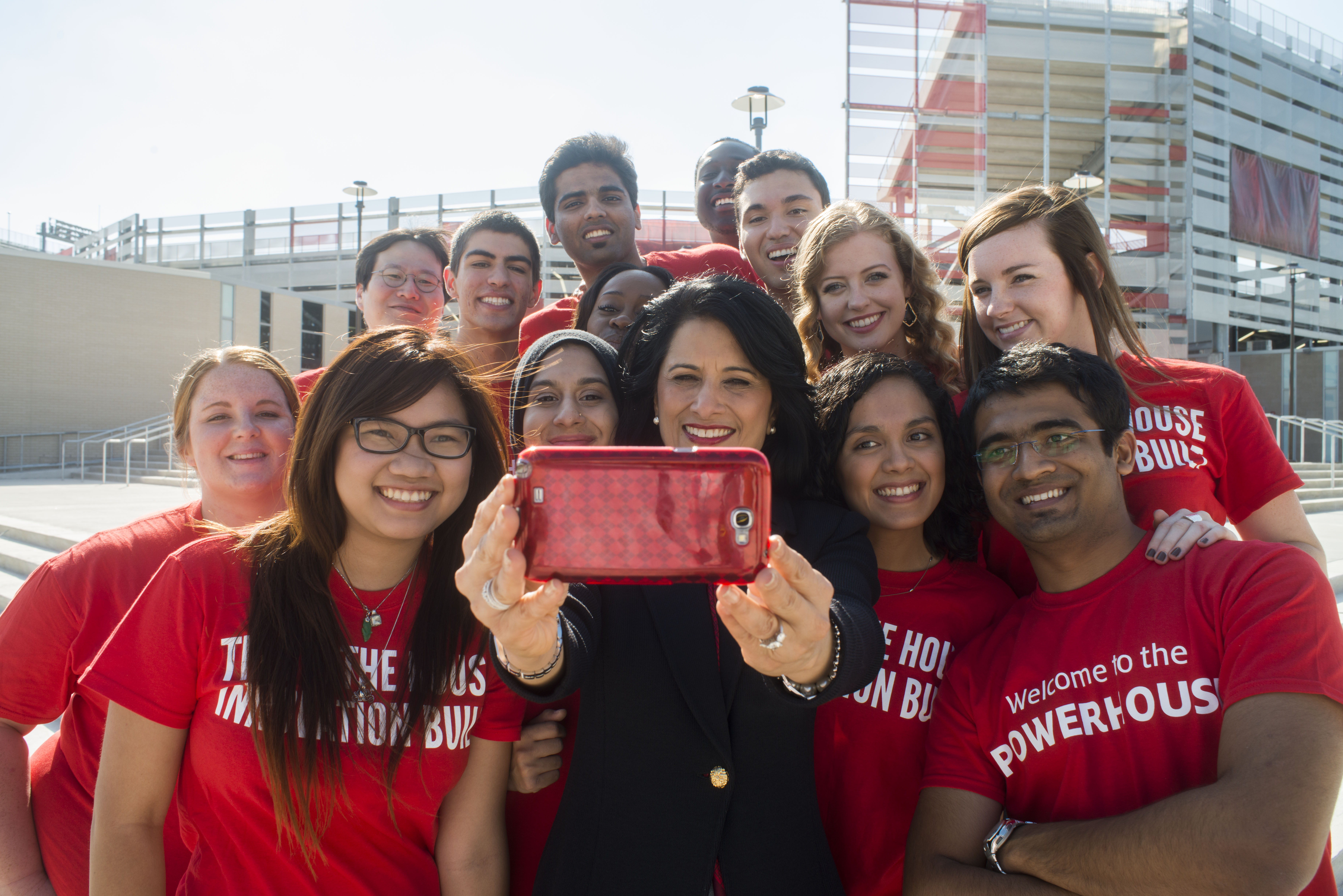 Students and others at the University of Houston can keep track of President Renu Khator on Twitter. She regularly updates her 91,000-plus followers on daily activities such as touring campus, getting a flu shot and caring for Ruby, the stray German shepherd she adopted.