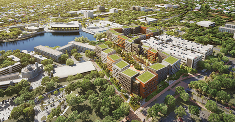 The University of Miami is building two new student housing complexes, including Lakeside Village (pictured).