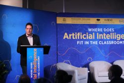 Hod Lipson, a roboticist and professor of innovation at Columbia University, spoke on the potential of artificial intelligence. Photo by Bruce Gilbert