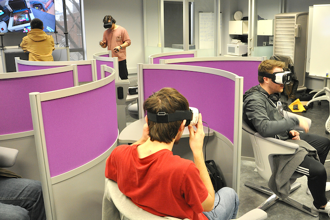 Augmented reality and virtual reality in education inspired educational technologists at Penn State to create pinwheel configurations so students can sit together while while immersed in a virtual reality experience.