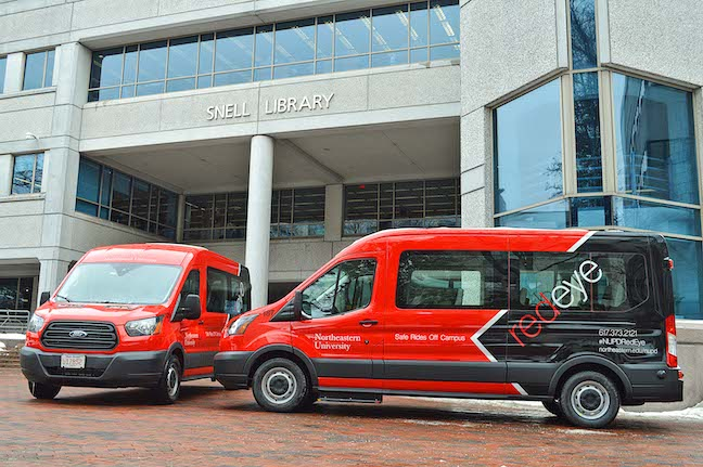 College transportation means college rideshares at Northeastern University in Boston. The school contracts with ridesharing company Via to help the school's late-night RedEye vans drive more efficient routes when taking students to their homes off-campus.