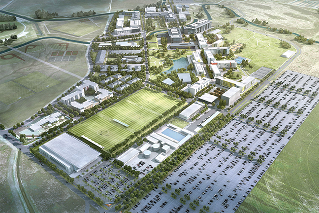 EXPANSION PLAN—With 13 buildings, the $1.3 billion Merced 2020 project at University of California, Merced requires UC system bonds, developer funds and institutional funds. Considered a hybrid public-private partnership, the model includes funding for operations and maintenance.