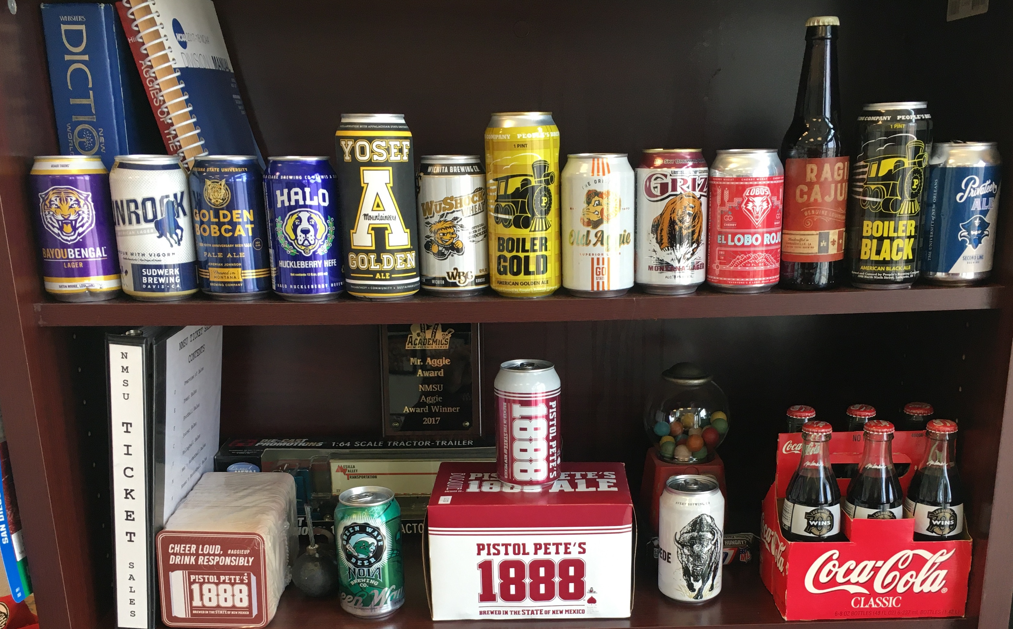 A nearly complete collection of the beers now being licensed by colleges and universities. (Photo: Mario Moccia)