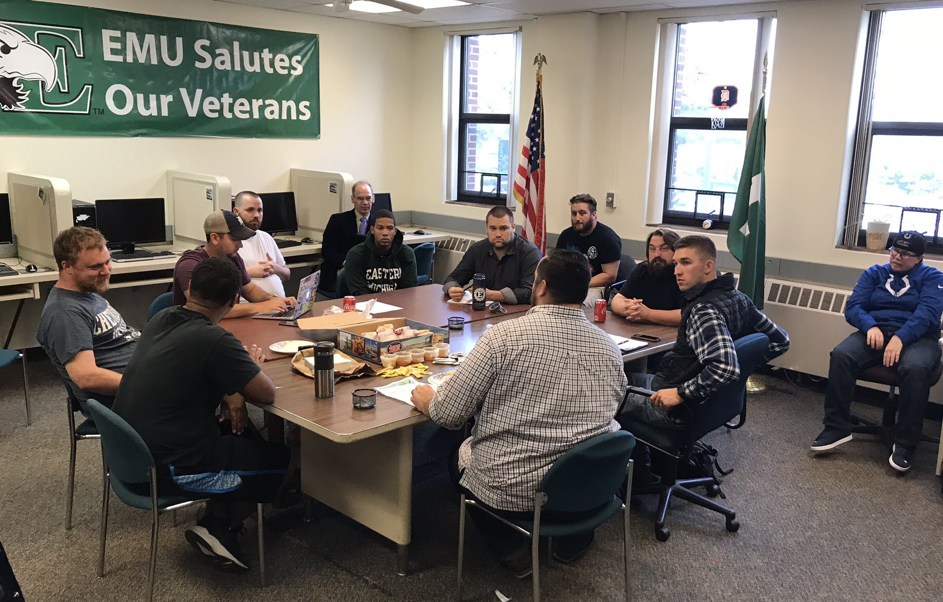 Staff at Eastern Michigan University's Military and Veteran Services Resource Center help students with home buying, long-term financial planning and how to have discussions with classmates who have different political views.