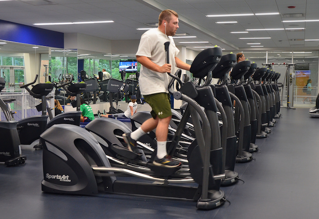 Fitness managers at Penn State Altoona have installed elliptical machines and stationary bikes that produce energy while students work out.