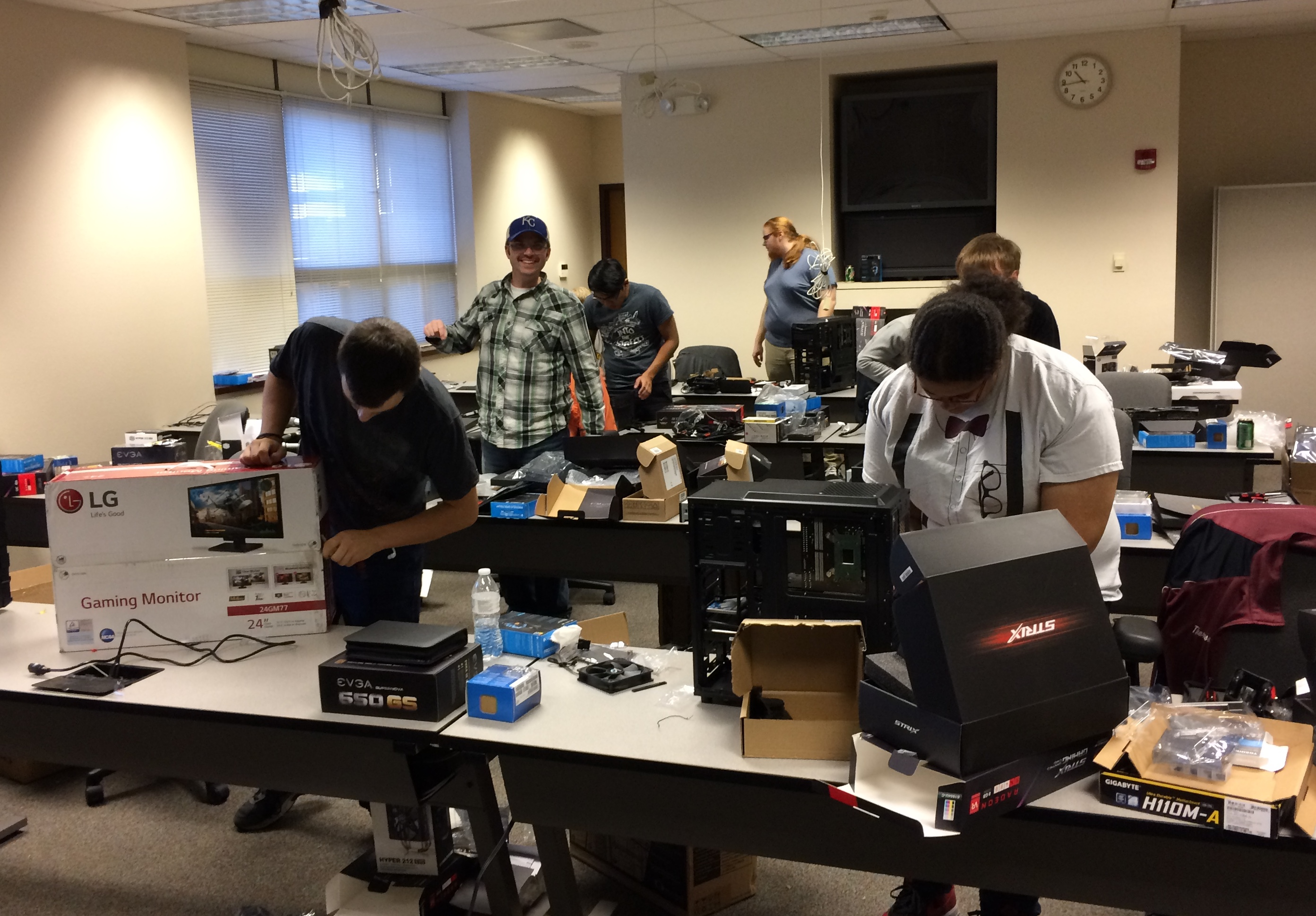 Esports competitors at Morningside College in Iowa helped assemble their gaming computers.