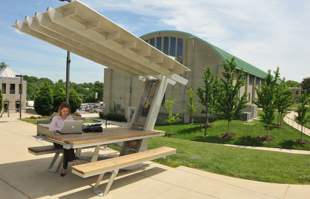 Students at the Catholic University of America designed a solar-powered picnic table with outlets.