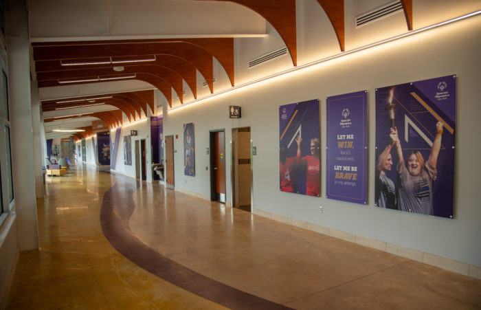 Nazareth College's Golisano Training Center was designed for an NCAA athletic program and as a venue for the Special Olympics—incorporating wide spaces, sensory considerations and a wellness program to meet the needs of all users.