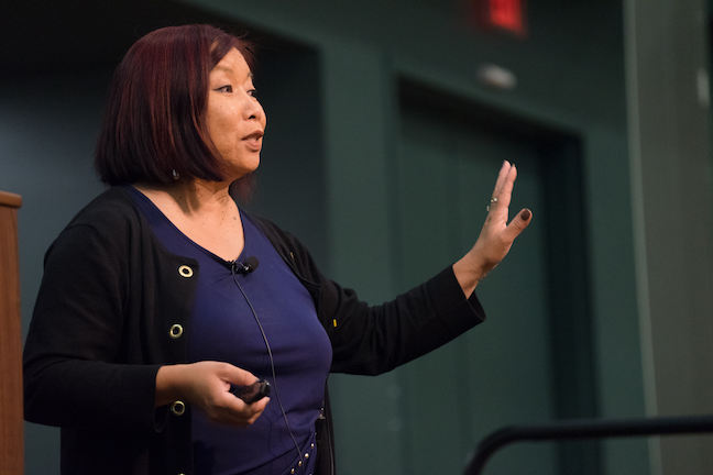 Infusing equity, diversity and inclusion into all campus operations is San Jose State University Chief Diversity Officer Kathleen Wong-Lau's top priority. (Photo: James Tensuan/San Jose State University)