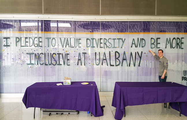 Because equity and inclusion work is ongoing at the University at Albany, the chief diversity officer's team hold forums where members of the campus community can discuss times when they feel most and least included.