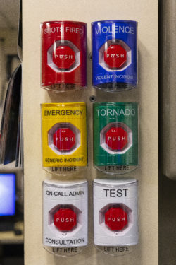 Last year, officials at Binghamton University enhanced their mass notification systems by installing push buttons that hang on the dispatch center wall. Pushing each button automates a response via social media and other channels.
