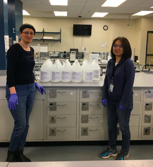 Postdoctoral student Shabnam Davoodi and research scientist Xinxin Yang helped their colleague Peter Tonge is his effort to donate lab-created hand sanitizer to Stony Brook University Hospital and Long Island State Veteran's Home.