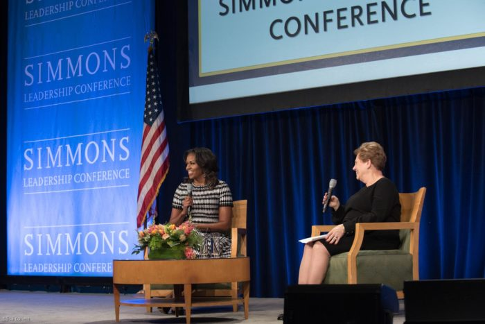 Former First Lady Michelle Obama, a notable speaker at the 2018 Simmons Leadership Conference, spoke with Simmons University President Helen Drinan on stage. Photo: Lisa Cohen