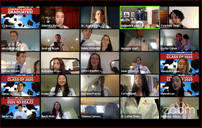 Graduates of the Renaissance School of Medicine at Stony Brook University—some of whom will begin treating coronavirus patients—recite the Hippocratic oath during the Facebook Live convocation ceremony on April 8.