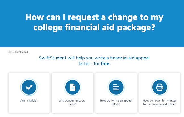 SwiftStudent guides students through the process of writing a financial aid appeal letter to their colleges and universities.