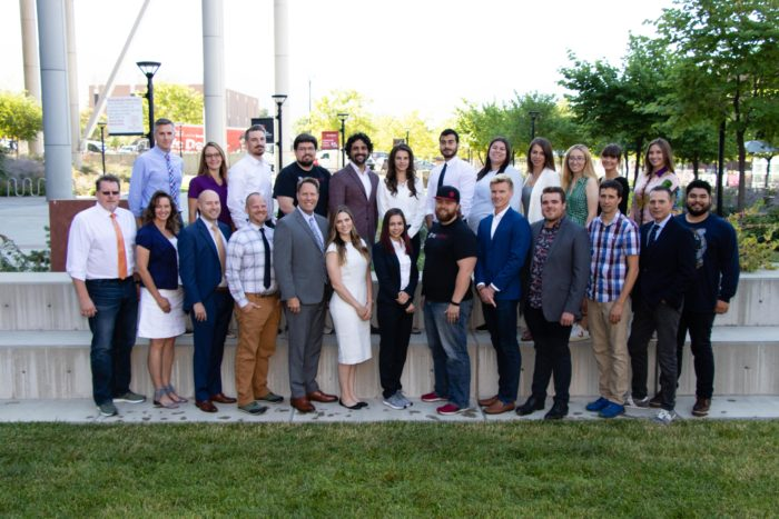 The first group of founders in the Master of Business Creation program at the University of Utah's David Eccles School of Business.