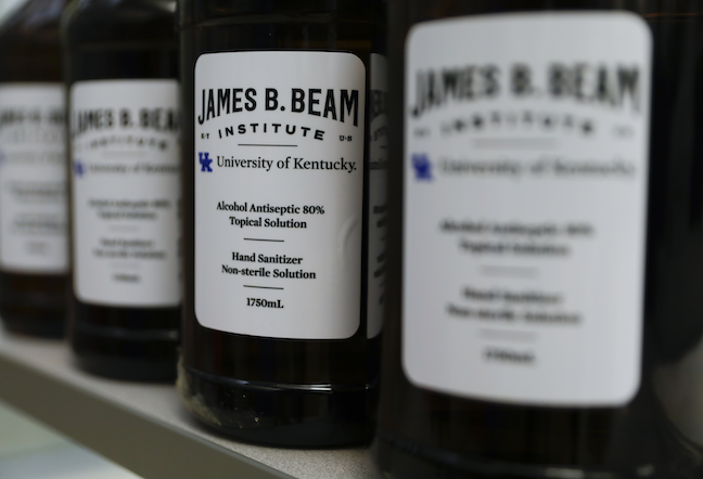 The University of Kentucky's James B. Beam Institute, which typically trains students for the bourbon industry, has been making sanitizer for health care workers.