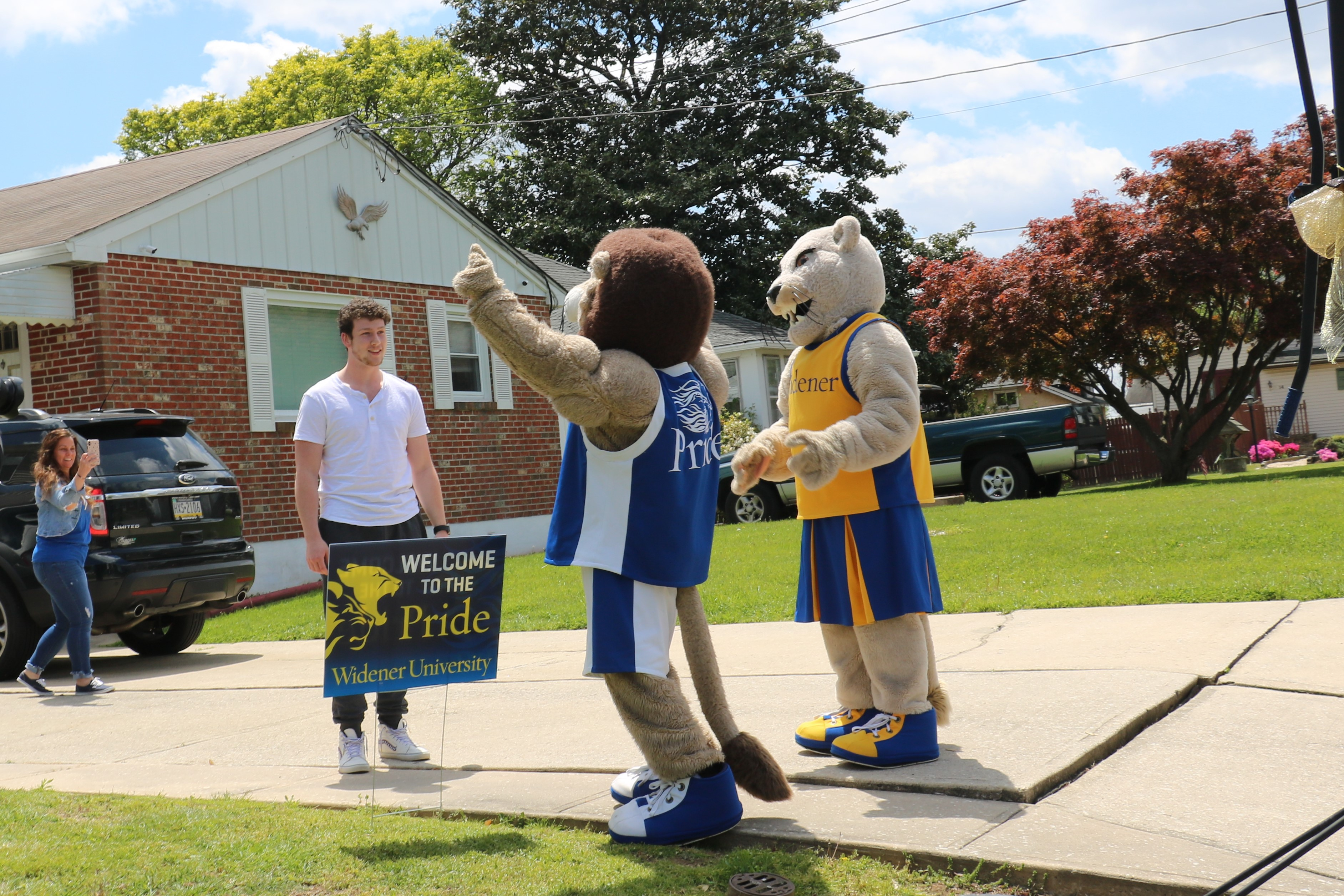 Mascots visiting acccepted students' home is just a part of Widener University's enrollment strategy for fall 2020.