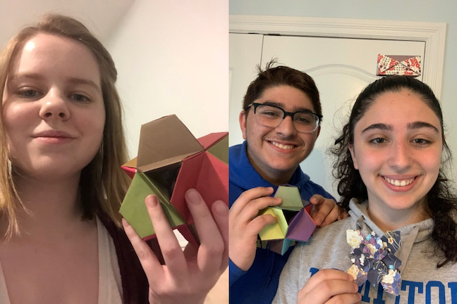 Sharing selfies of origami creations kept Hamilton College coding students engaged as they create digital music and animations for their final project.