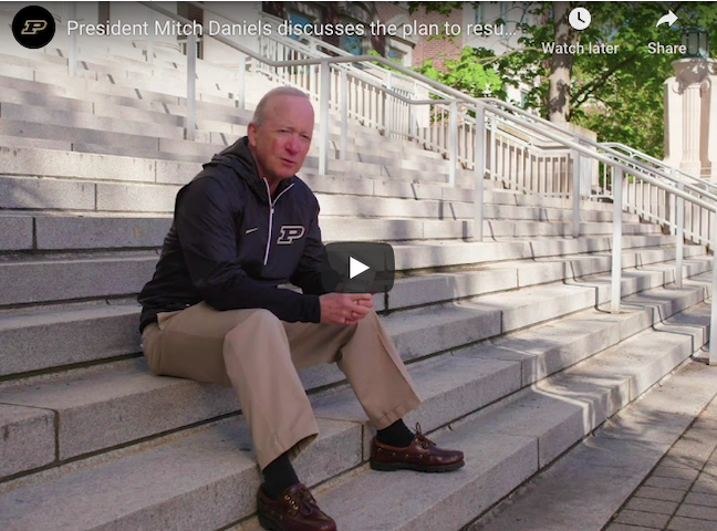 President Mitch Daniels discusses Purdue University's reopening plans. (See video below)