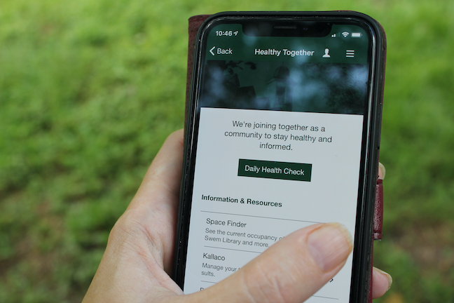 William & Mary may suspend the IT services of campus users who don't monitor their health with the university's mobile app or website tool.